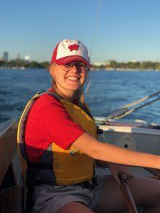 Julia Buskirk, Conservation Biology major on a boat